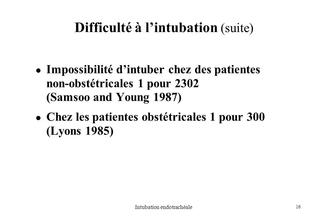 16 Intubation endotrachéale Difficulté à lintubation (suite) Impossibilité dintuber chez des patientes non-obstétricales 1 pour 2302 (Samsoo and Young