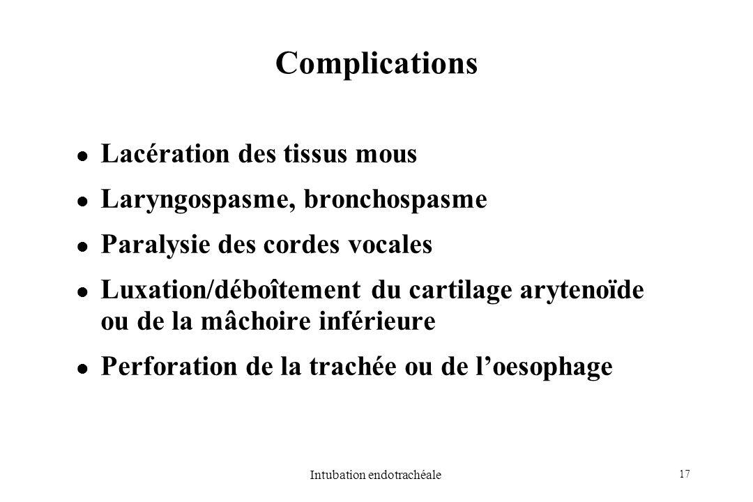 17 Intubation endotrachéale Complications Lacération des tissus mous Laryngospasme, bronchospasme Paralysie des cordes vocales Luxation/déboîtement du