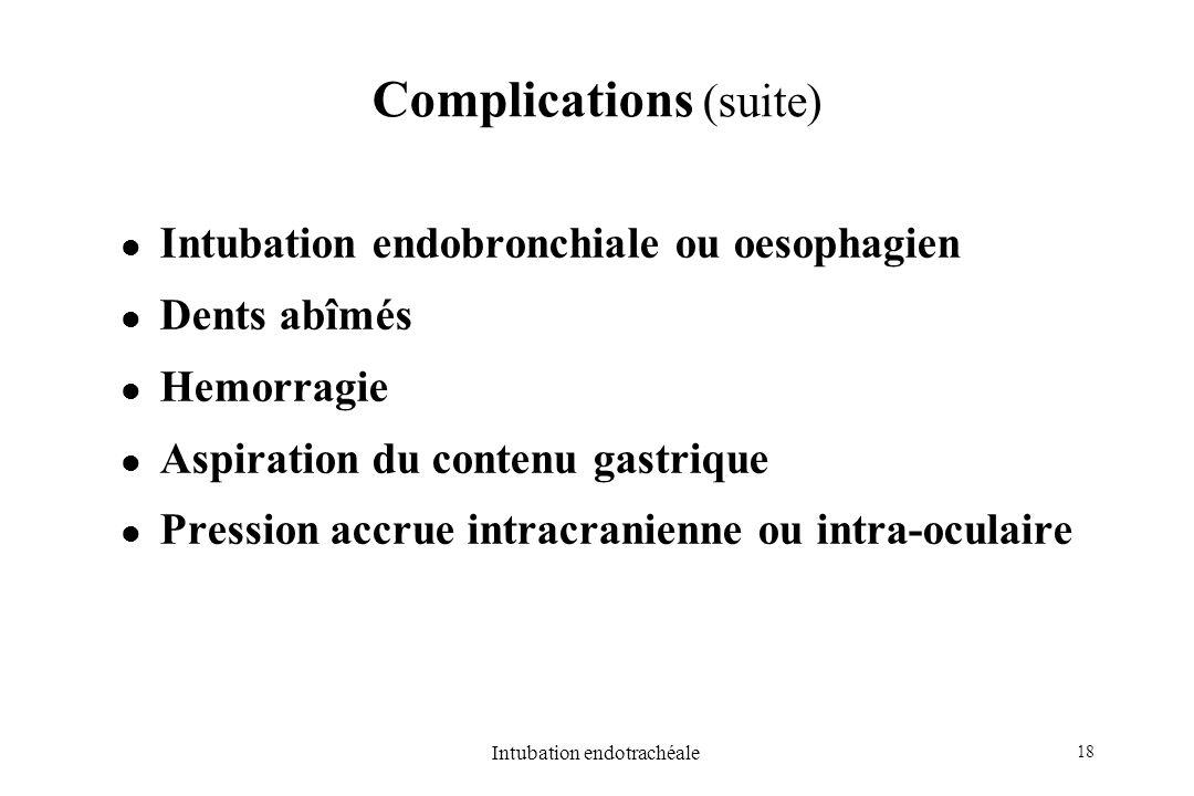 18 Intubation endotrachéale Complications (suite) Intubation endobronchiale ou oesophagien Dents abîmés Hemorragie Aspiration du contenu gastrique Pre