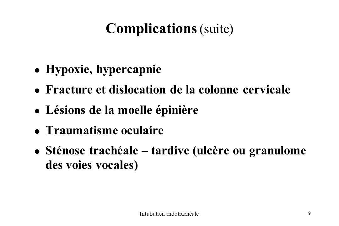 19 Intubation endotrachéale Hypoxie, hypercapnie Fracture et dislocation de la colonne cervicale Lésions de la moelle épinière Traumatisme oculaire St