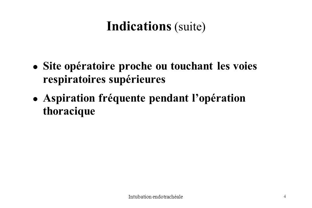 4 Intubation endotrachéale Indications (suite) Site opératoire proche ou touchant les voies respiratoires supérieures Aspiration fréquente pendant lop