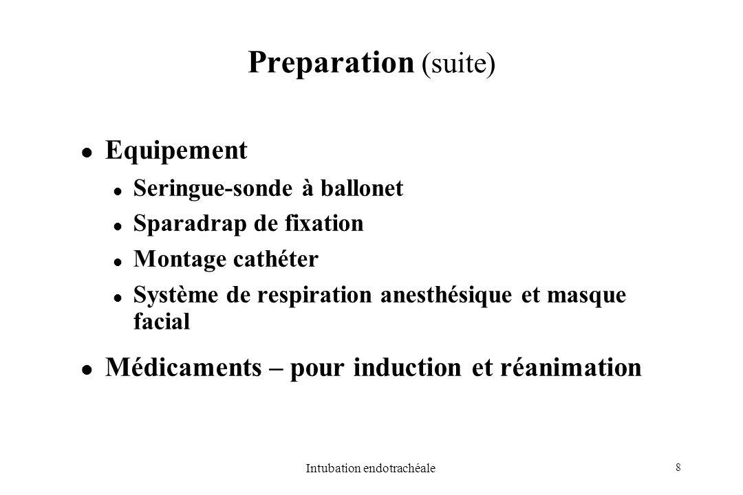8 Intubation endotrachéale Preparation (suite) Equipement Seringue-sonde à ballonet Sparadrap de fixation Montage cathéter Système de respiration anes