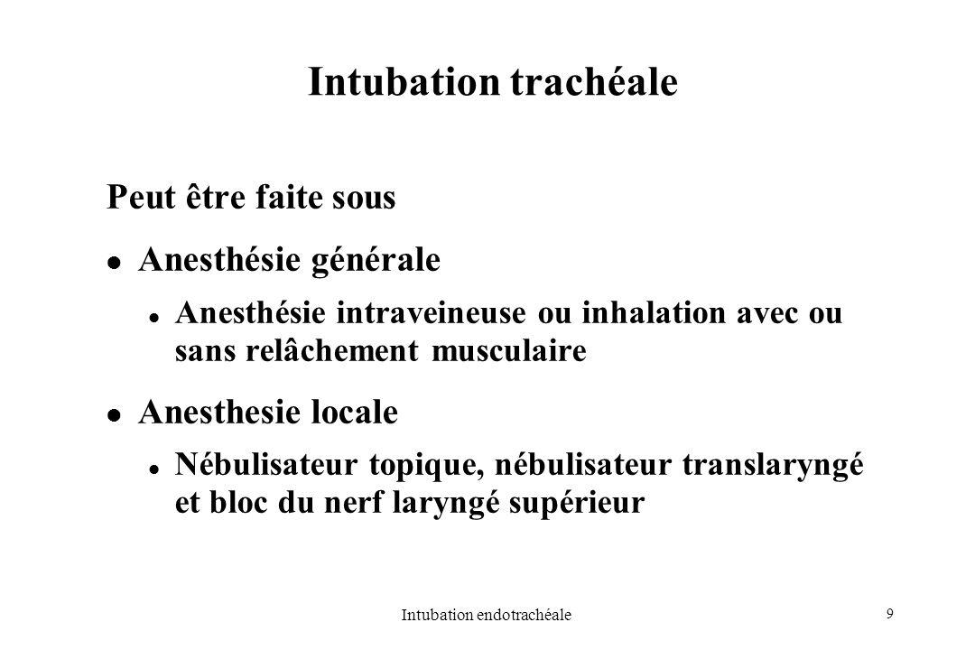 9 Intubation endotrachéale Intubation trachéale Peut être faite sous Anesthésie générale Anesthésie intraveineuse ou inhalation avec ou sans relâcheme