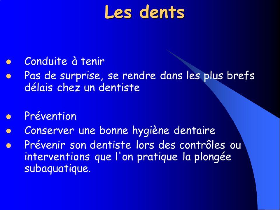 Les dents Cause Des problèmes peuvent survenir si par exemple un plombage n est pas assez enfoncé, bref, d une manière générale en cas d existence d une cavité d air dans la dent.