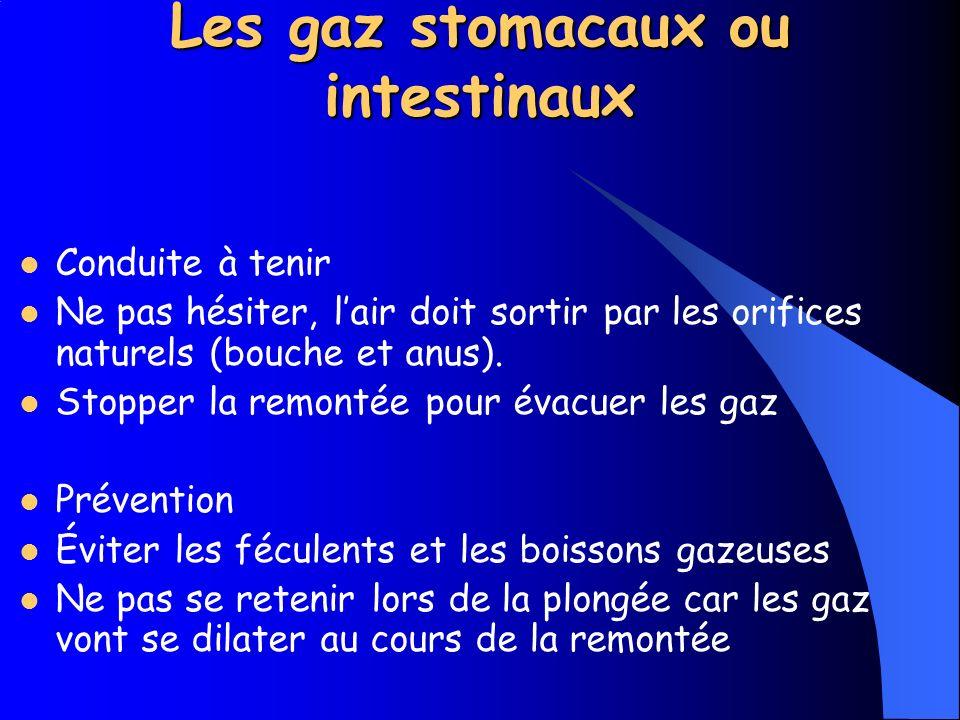 Les gaz stomacaux ou intestinaux Cause En plongée, lair que lon respire est à la pression où le plongeur se trouve.
