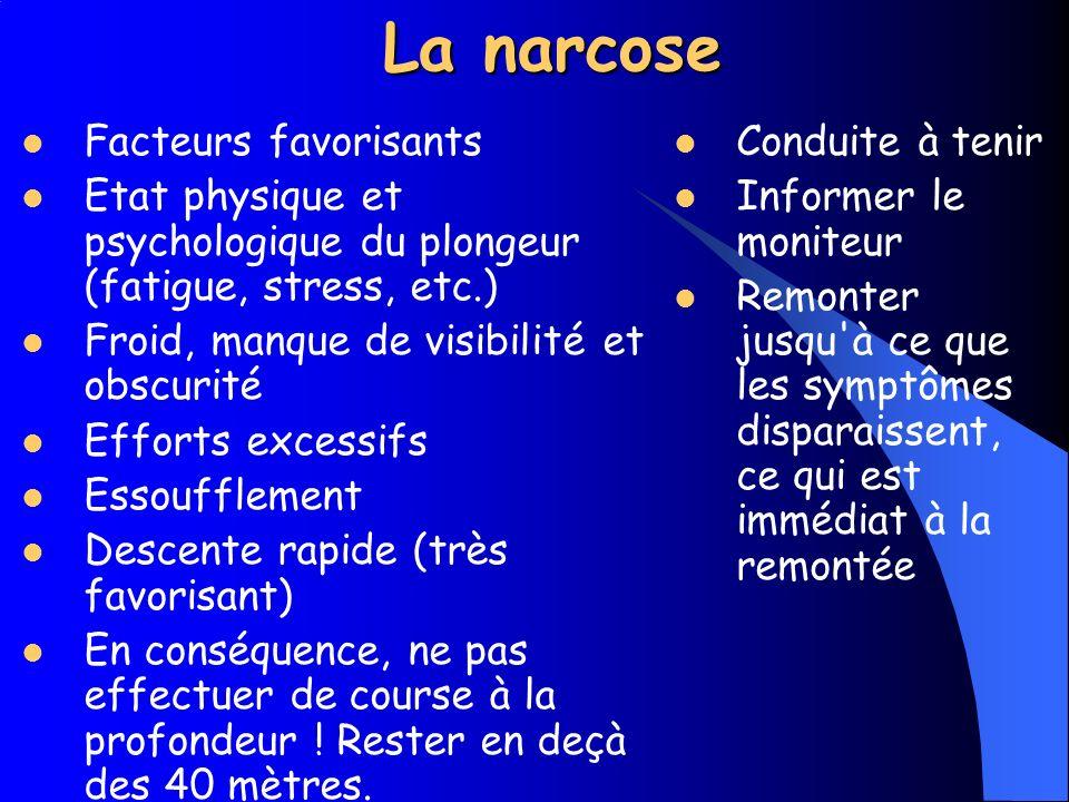 La narcose Cause Augmentation de la pression partielle dazote (N2) Symptômes Dès 30 mètres.