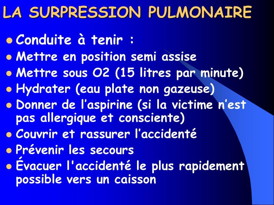 LA SURPRESSION PULMONAIRE Symptômes : Gêne respiratoire, toux sanguinolente, douleur thoracique, spasmes, paralysies, troubles de la vue, de la parole, état de choc, syncope et mort