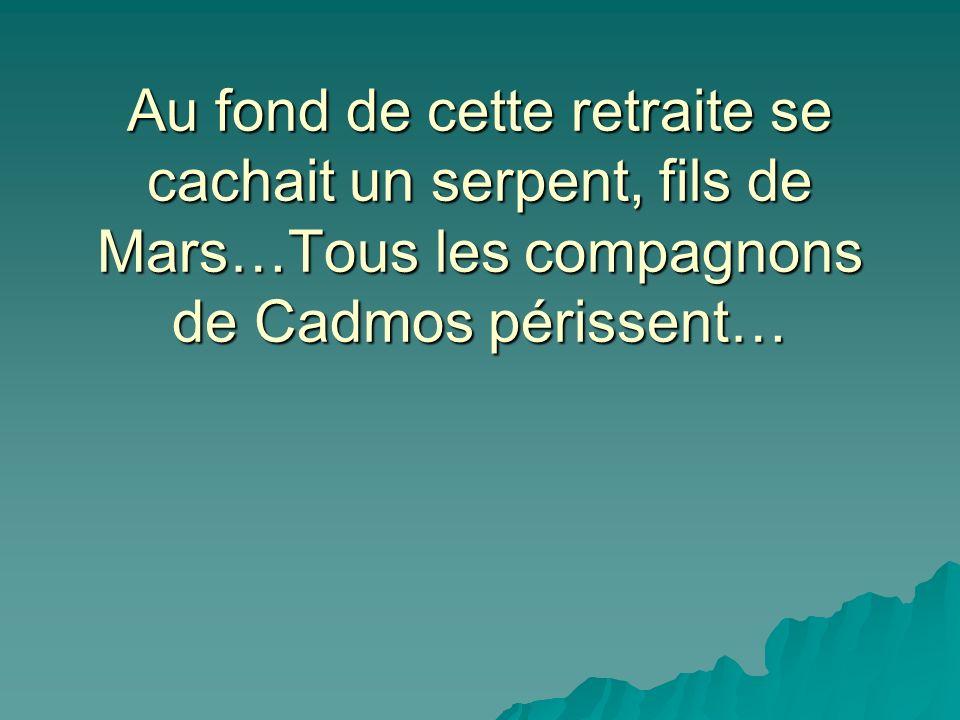 Au fond de cette retraite se cachait un serpent, fils de Mars…Tous les compagnons de Cadmos périssent…