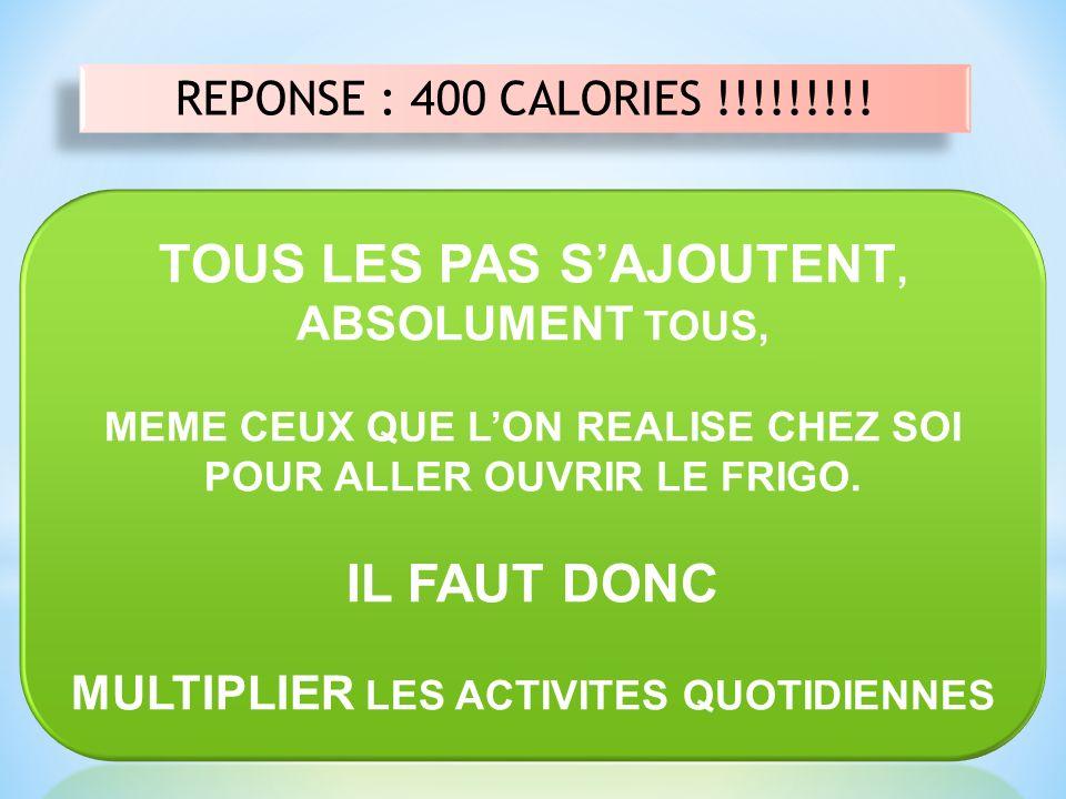 REPONSE : 400 CALORIES !!!!!!!!!