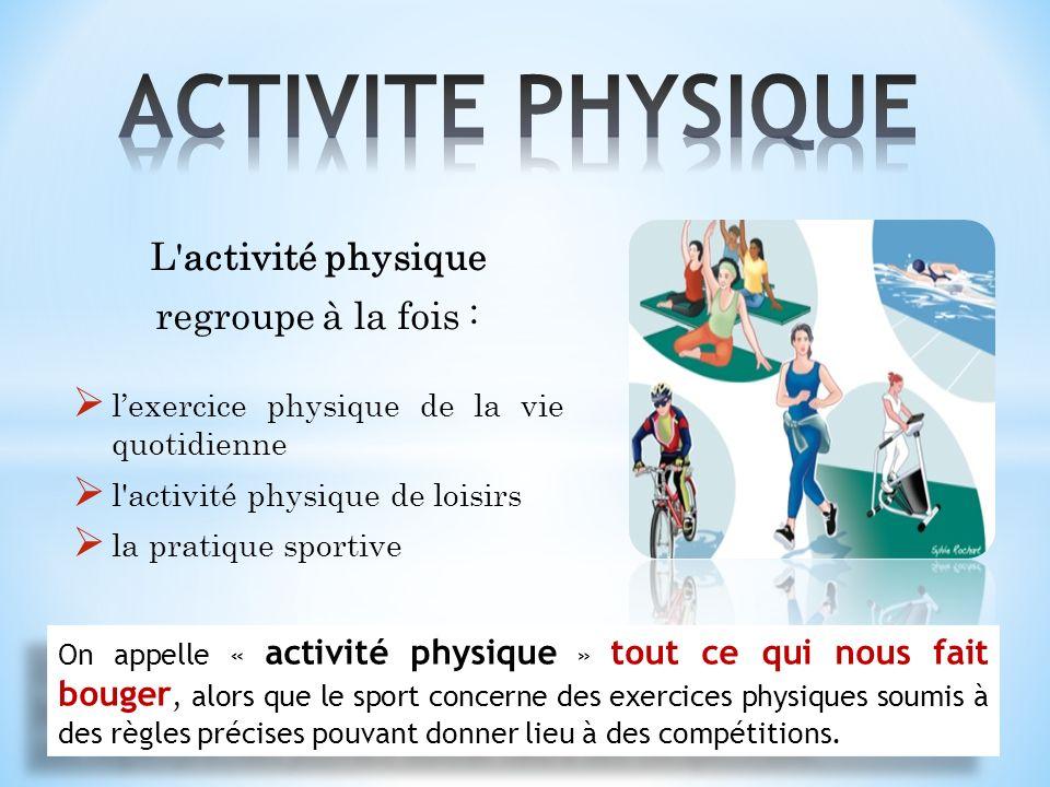 L activité physique regroupe à la fois : lexercice physique de la vie quotidienne l activité physique de loisirs la pratique sportive On appelle « activité physique » tout ce qui nous fait bouger, alors que le sport concerne des exercices physiques soumis à des règles précises pouvant donner lieu à des compétitions.