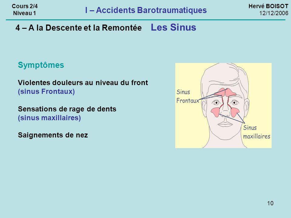 10 Les Sinus 4 – A la Descente et la Remontée Violentes douleurs au niveau du front (sinus Frontaux) Sensations de rage de dents (sinus maxillaires) Saignements de nez Symptômes Hervé BOISOT 12/12/2006 Cours 2/4 Niveau 1 I – Accidents Barotraumatiques