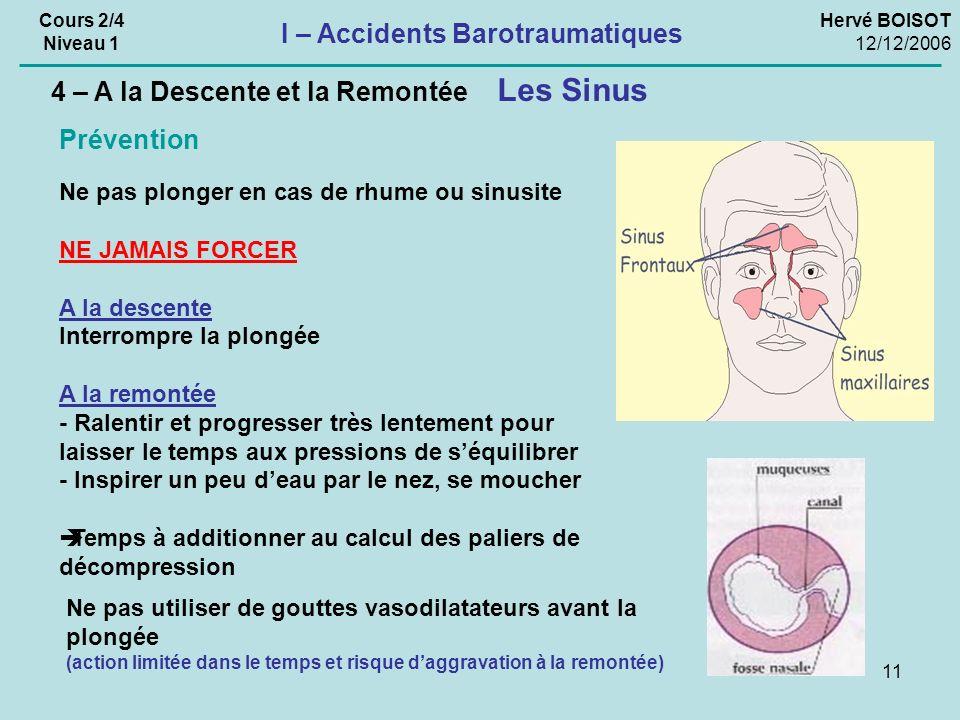 11 Hervé BOISOT 12/12/2006 Cours 2/4 Niveau 1 I – Accidents Barotraumatiques Ne pas plonger en cas de rhume ou sinusite NE JAMAIS FORCER A la descente