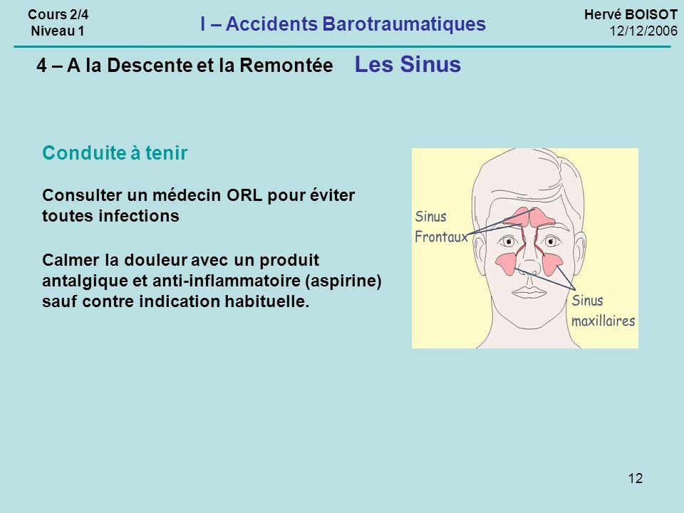 12 Hervé BOISOT 12/12/2006 Cours 2/4 Niveau 1 I – Accidents Barotraumatiques Consulter un médecin ORL pour éviter toutes infections Conduite à tenir Calmer la douleur avec un produit antalgique et anti-inflammatoire (aspirine) sauf contre indication habituelle.