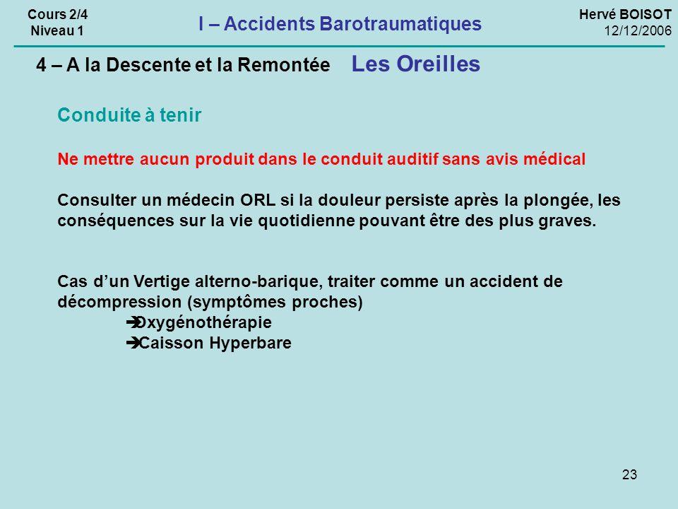 23 Hervé BOISOT 12/12/2006 Cours 2/4 Niveau 1 I – Accidents Barotraumatiques Les Oreilles 4 – A la Descente et la Remontée Conduite à tenir Ne mettre