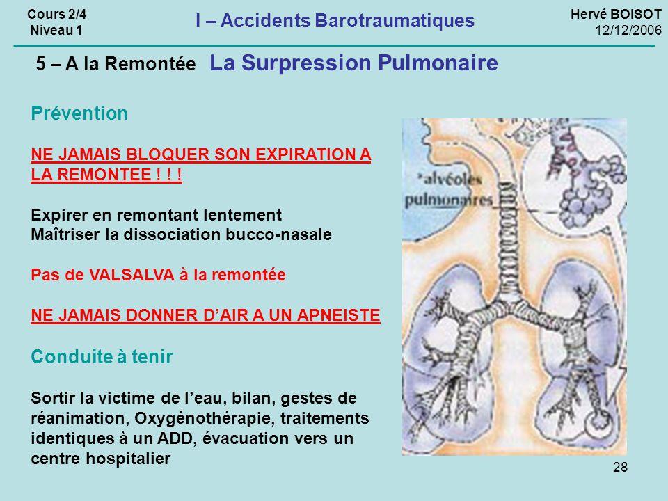 28 La Surpression Pulmonaire 5 – A la Remontée Hervé BOISOT 12/12/2006 Cours 2/4 Niveau 1 I – Accidents Barotraumatiques Prévention NE JAMAIS BLOQUER SON EXPIRATION A LA REMONTEE .
