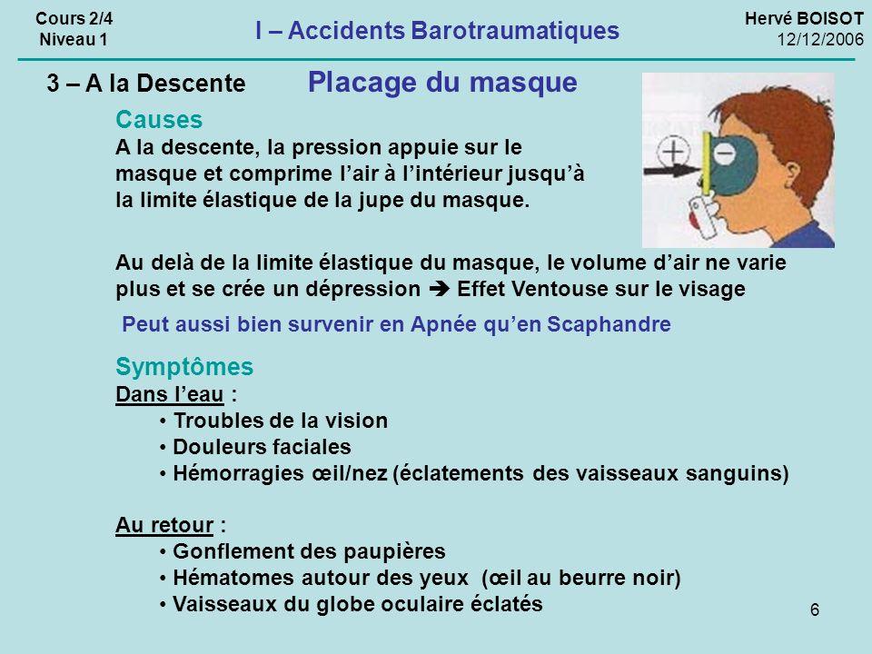 6 Hervé BOISOT 12/12/2006 Cours 2/4 Niveau 1 I – Accidents Barotraumatiques 3 – A la Descente Placage du masque Causes A la descente, la pression appu