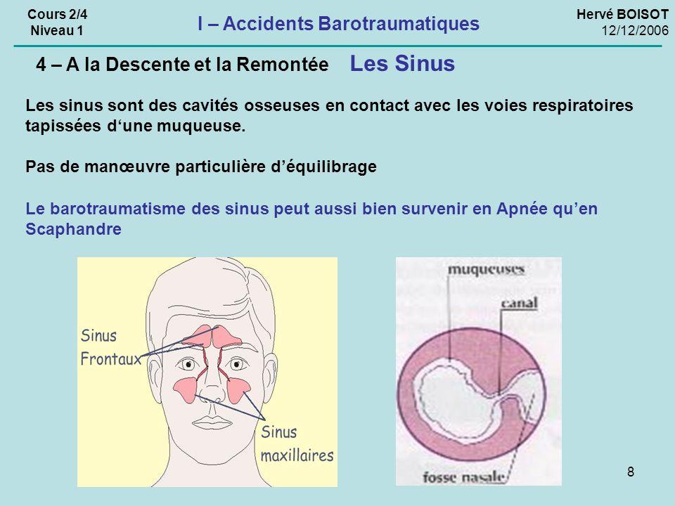 8 Hervé BOISOT 12/12/2006 Cours 2/4 Niveau 1 I – Accidents Barotraumatiques Les Sinus 4 – A la Descente et la Remontée Les sinus sont des cavités osseuses en contact avec les voies respiratoires tapissées dune muqueuse.