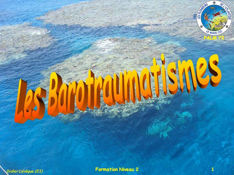 PALM 72 Didier Lévêque (E3) Formation Niveau 22 Le plan Définition Le plaquage du masqueLe plaquage du masque Les sinusLes sinus Les oreillesLes oreilles Les dentsLes dents Les intestins et lestomacLes intestins et lestomac La surpression pulmonaireLa surpression pulmonaire CAUSES – SYMPTÔMES – CONDUITE A TENIR - PREVENTION