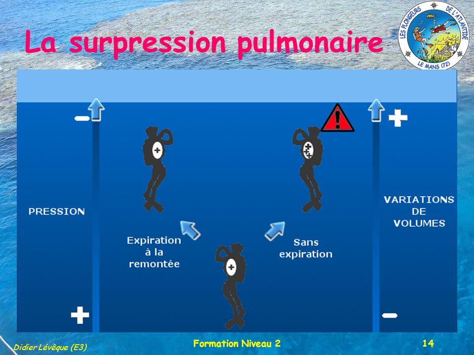 PALM 72 Didier Lévêque (E3) Formation Niveau 214 La surpression pulmonaire le plus grave des barotraumatismes Cet accident est le plus grave des barotraumatismes, il survient à une profondeur comprise entre 5 m et la surface lors de la remontée.