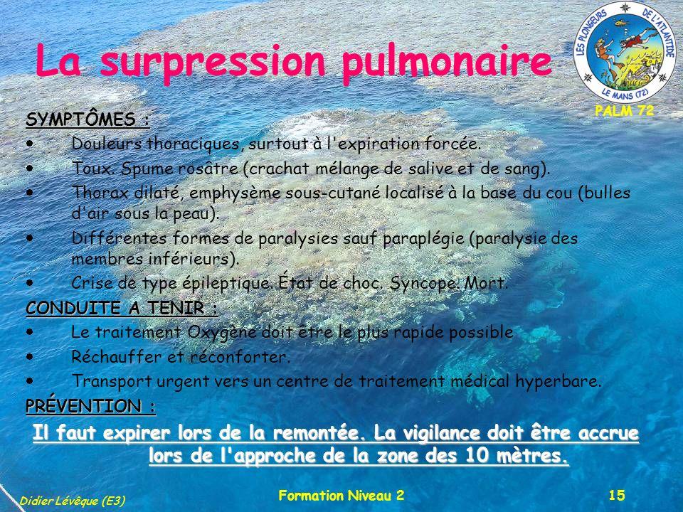 PALM 72 Didier Lévêque (E3) Formation Niveau 215 SYMPTÔMES : Douleurs thoraciques, surtout à l'expiration forcée. Toux. Spume rosâtre (crachat mélange