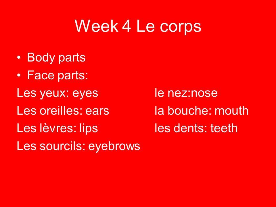 Week 4 Le corps Body parts Face parts: Les yeux: eyesle nez:nose Les oreilles: earsla bouche: mouth Les lèvres: lipsles dents: teeth Les sourcils: eye
