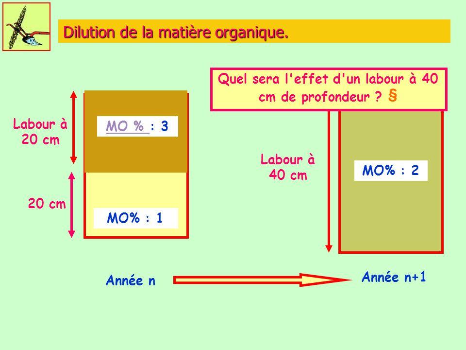 Dilution de la matière organique. MO % MO % : 3 MO% : 1 Labour à 20 cm Année n Labour à 40 cm MO% : 2 Année n+1 Quel sera l'effet d'un labour à 40 cm