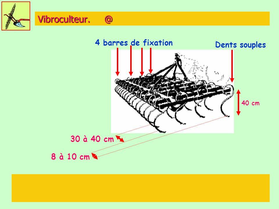 Vibroculteur. @ 40 cm 30 à 40 cm 8 à 10 cm 4 barres de fixation Dents souples
