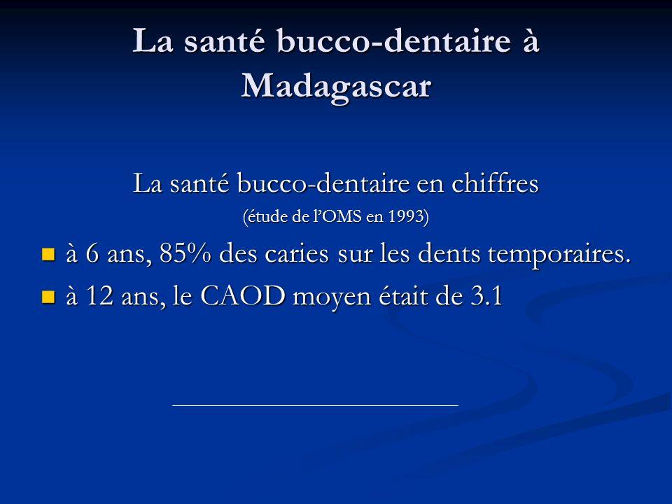 La santé bucco-dentaire à Madagascar La santé bucco-dentaire en chiffres (étude de lOMS en 1993) à 6 ans, 85% des caries sur les dents temporaires. à