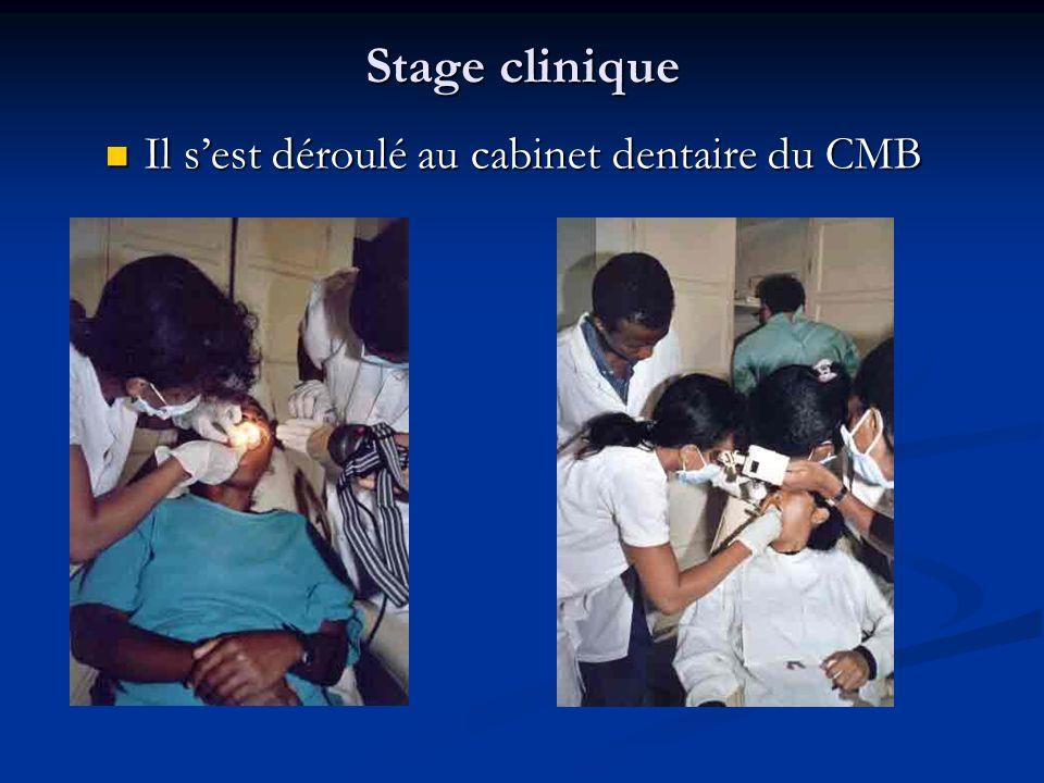 Stage clinique Il sest déroulé au cabinet dentaire du CMB Il sest déroulé au cabinet dentaire du CMB