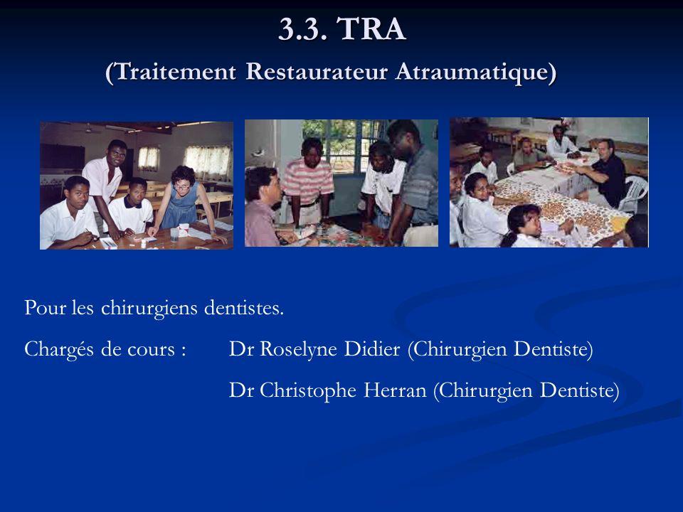 3.3. TRA Pour les chirurgiens dentistes. Chargés de cours :Dr Roselyne Didier (Chirurgien Dentiste) Dr Christophe Herran (Chirurgien Dentiste) (Traite