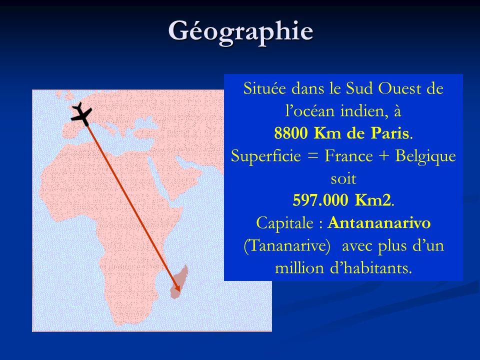 Géographie Située dans le Sud Ouest de locéan indien, à 8800 Km de Paris. Superficie = France + Belgique soit 597.000 Km2. Capitale : Antananarivo (Ta