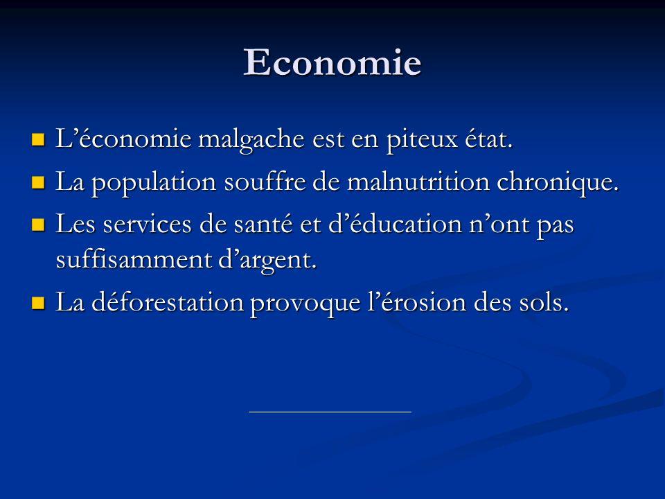Economie Léconomie malgache est en piteux état. Léconomie malgache est en piteux état. La population souffre de malnutrition chronique. La population