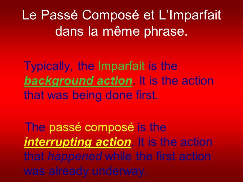 Le Passé Composé et LImparfait dans la même phrase.