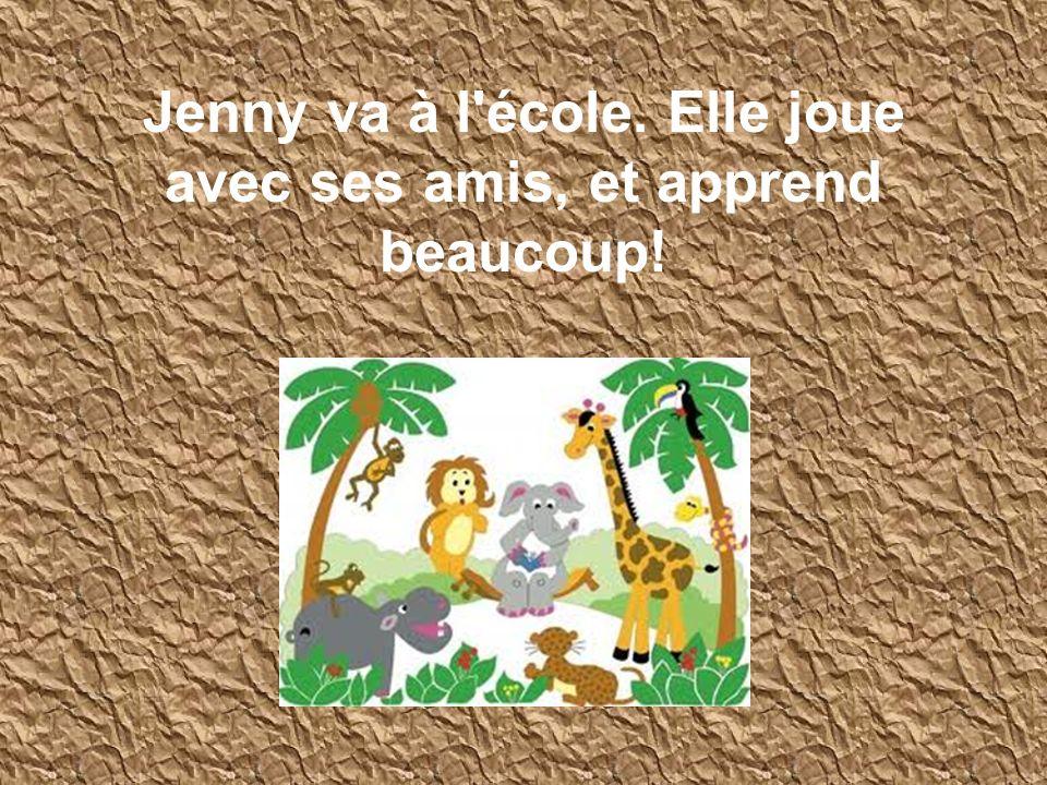 Jenny va à l'école. Elle joue avec ses amis, et apprend beaucoup!