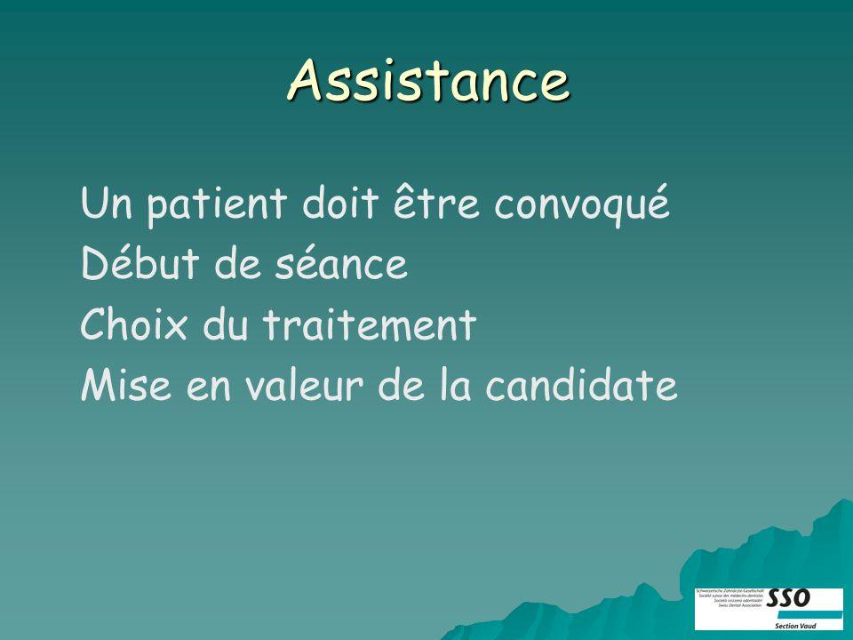Assistance Un patient doit être convoqué Début de séance Choix du traitement Mise en valeur de la candidate