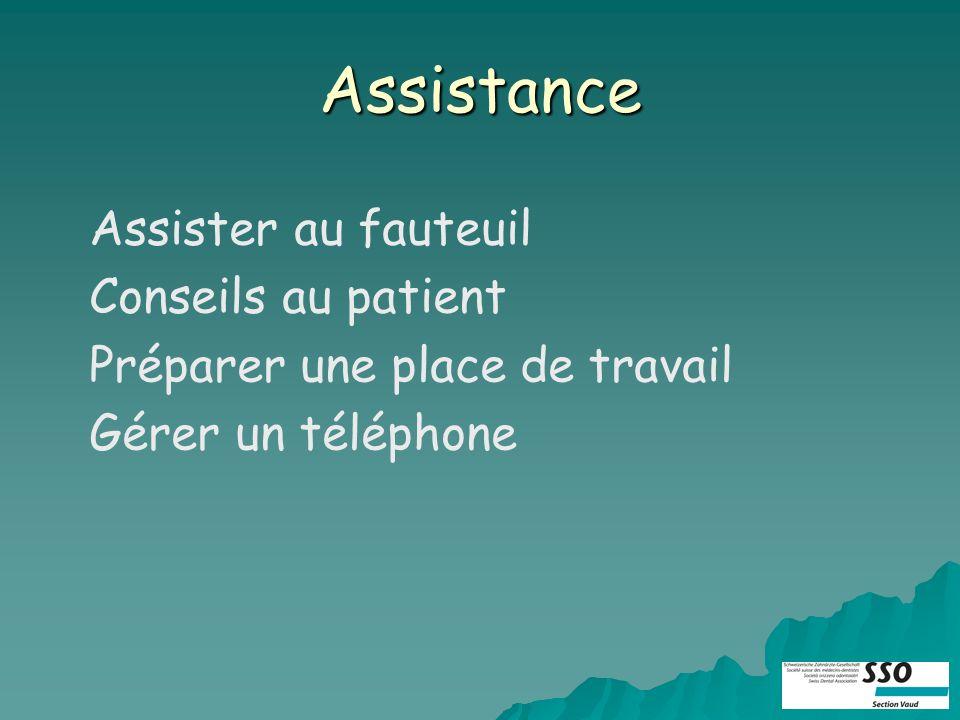 Assistance Assister au fauteuil Conseils au patient Préparer une place de travail Gérer un téléphone