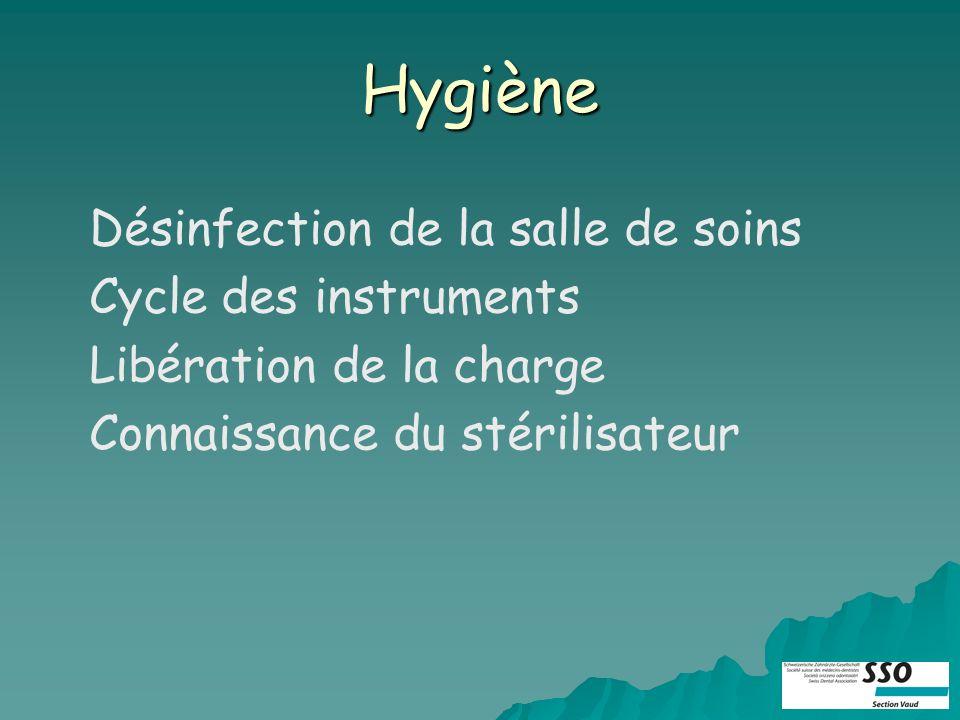 Hygiène Désinfection de la salle de soins Cycle des instruments Libération de la charge Connaissance du stérilisateur