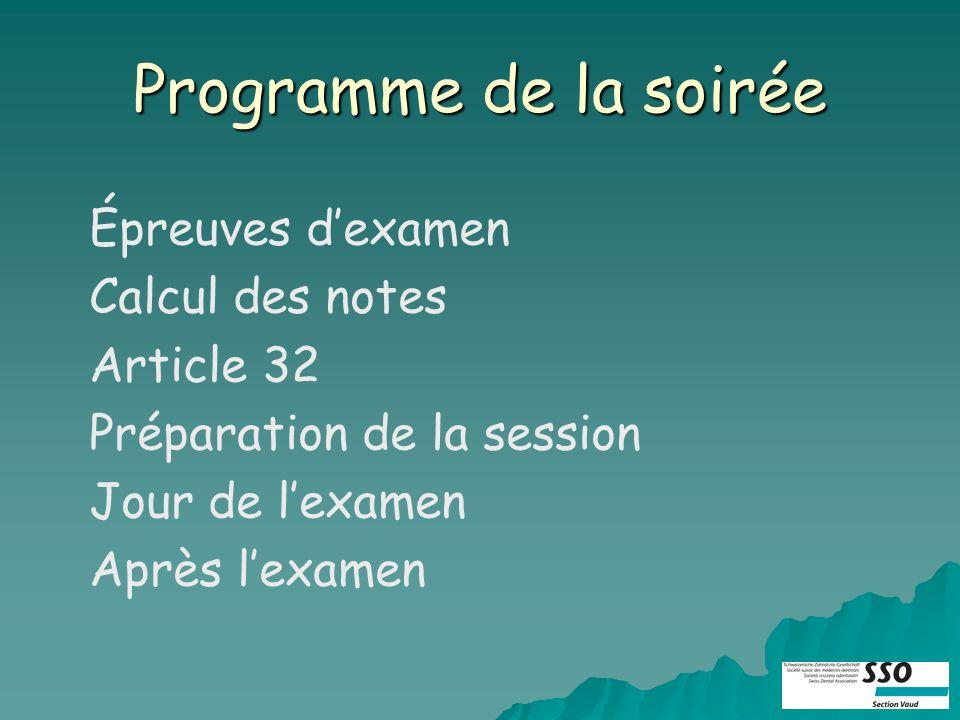 Programme de la soirée Épreuves dexamen Calcul des notes Article 32 Préparation de la session Jour de lexamen Après lexamen
