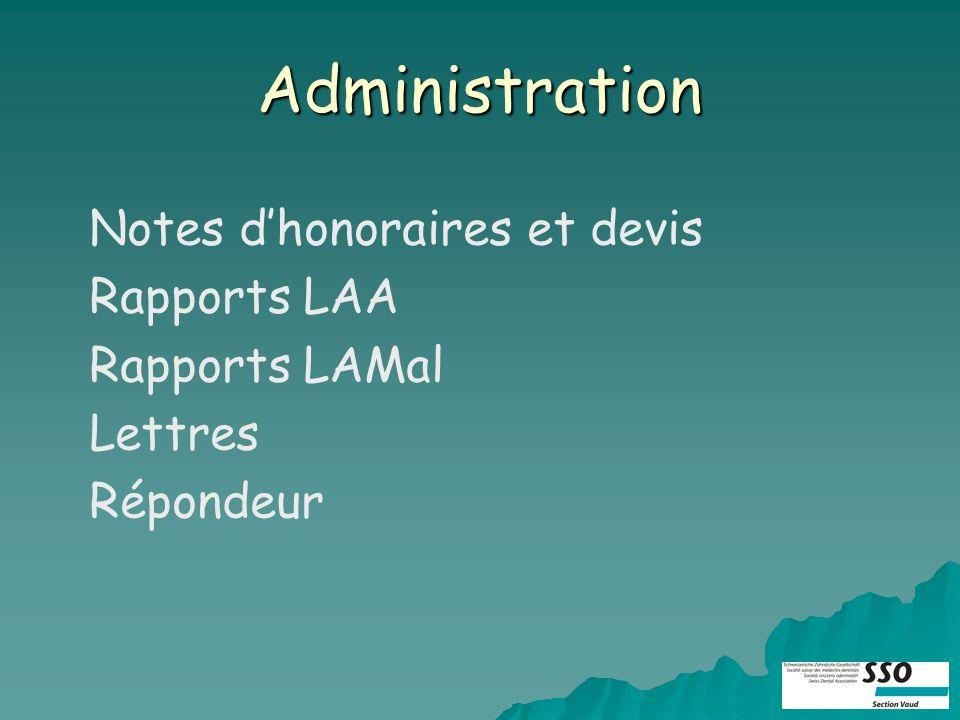 Administration Notes dhonoraires et devis Rapports LAA Rapports LAMal Lettres Répondeur