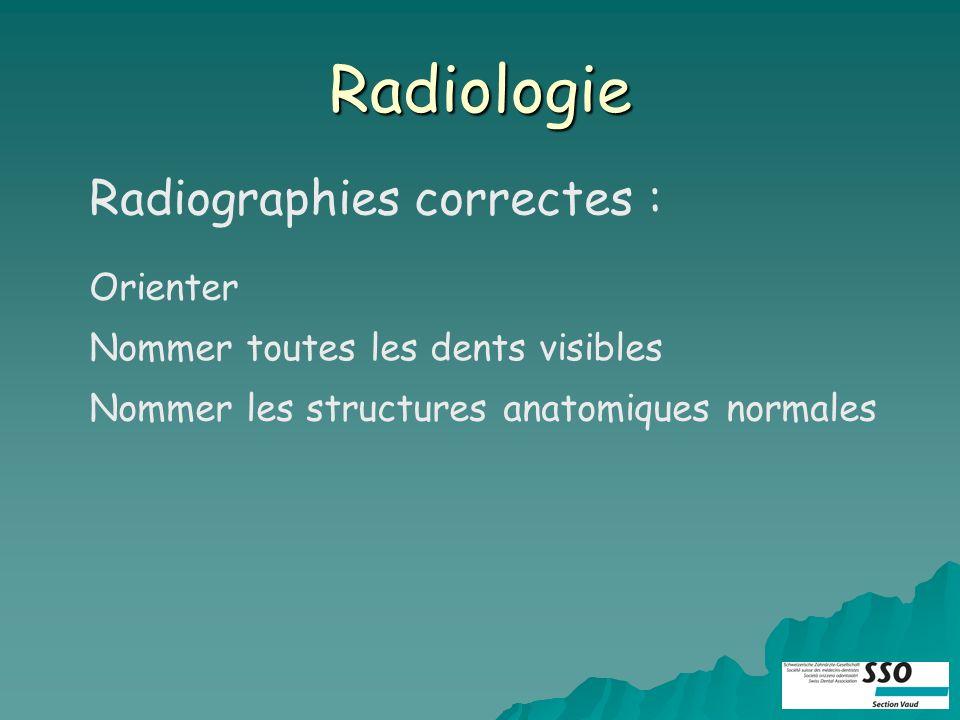 Radiologie Radiographies correctes : Orienter Nommer toutes les dents visibles Nommer les structures anatomiques normales