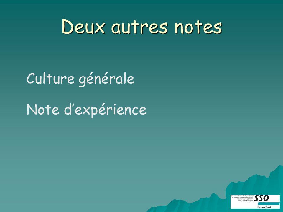 Deux autres notes Culture générale Note dexpérience
