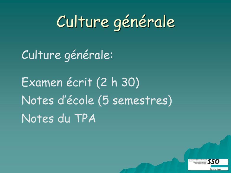 Culture générale Culture générale: Examen écrit (2 h 30) Notes décole (5 semestres) Notes du TPA