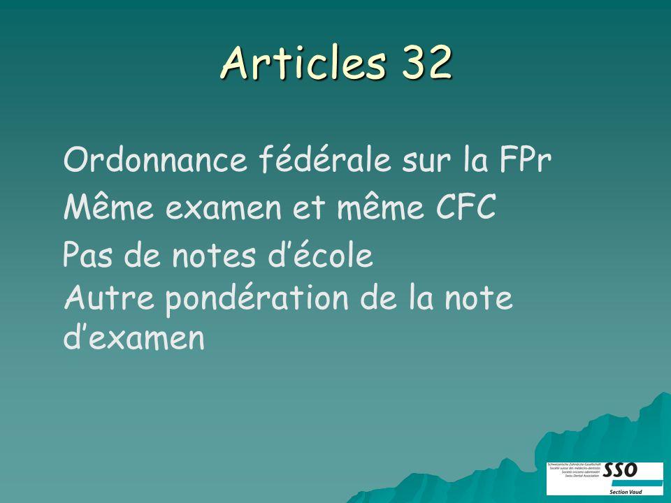 Articles 32 Ordonnance fédérale sur la FPr Même examen et même CFC Pas de notes décole Autre pondération de la note dexamen