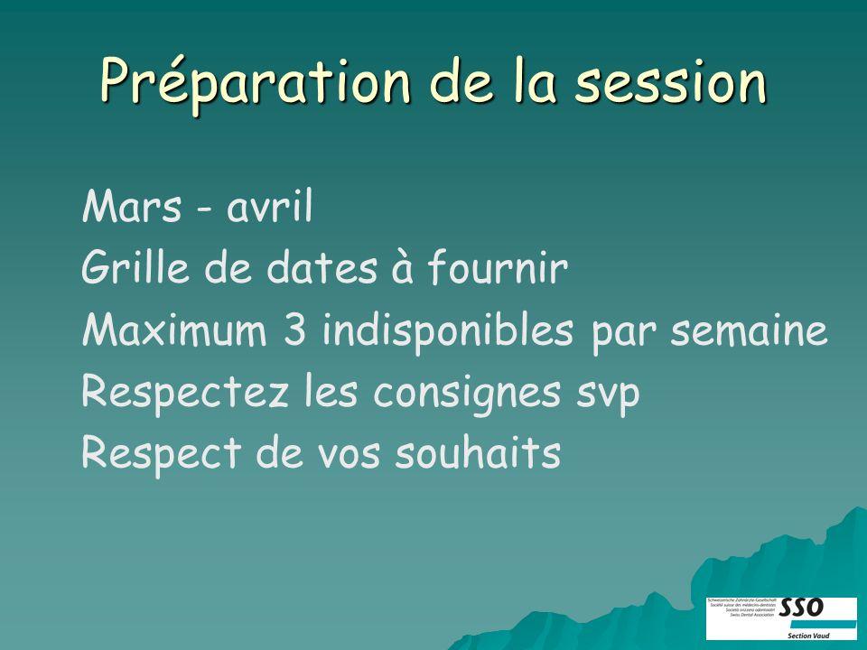 Préparation de la session Mars - avril Grille de dates à fournir Maximum 3 indisponibles par semaine Respectez les consignes svp Respect de vos souhaits