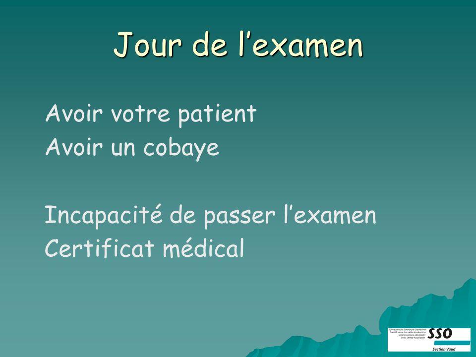 Jour de lexamen Avoir votre patient Avoir un cobaye Incapacité de passer lexamen Certificat médical