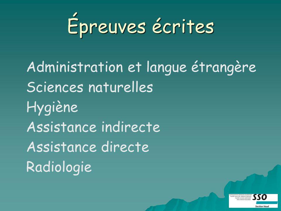 Épreuves écrites Administration et langue étrangère Hygiène Assistance indirecte Assistance directe Radiologie Sciences naturelles