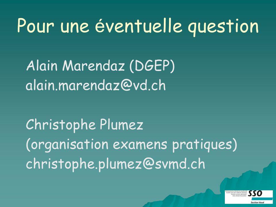 Pour une é ventuelle question Alain Marendaz (DGEP) alain.marendaz@vd.ch Christophe Plumez (organisation examens pratiques) christophe.plumez@svmd.ch