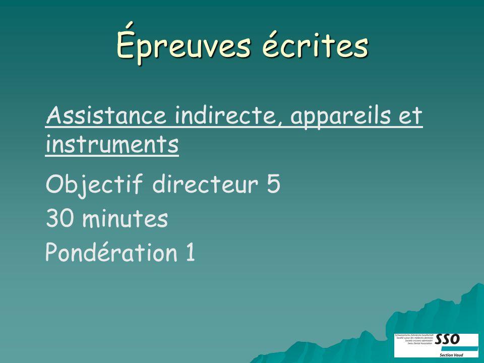 Épreuves écrites Assistance indirecte, appareils et instruments Objectif directeur 5 30 minutes Pondération 1