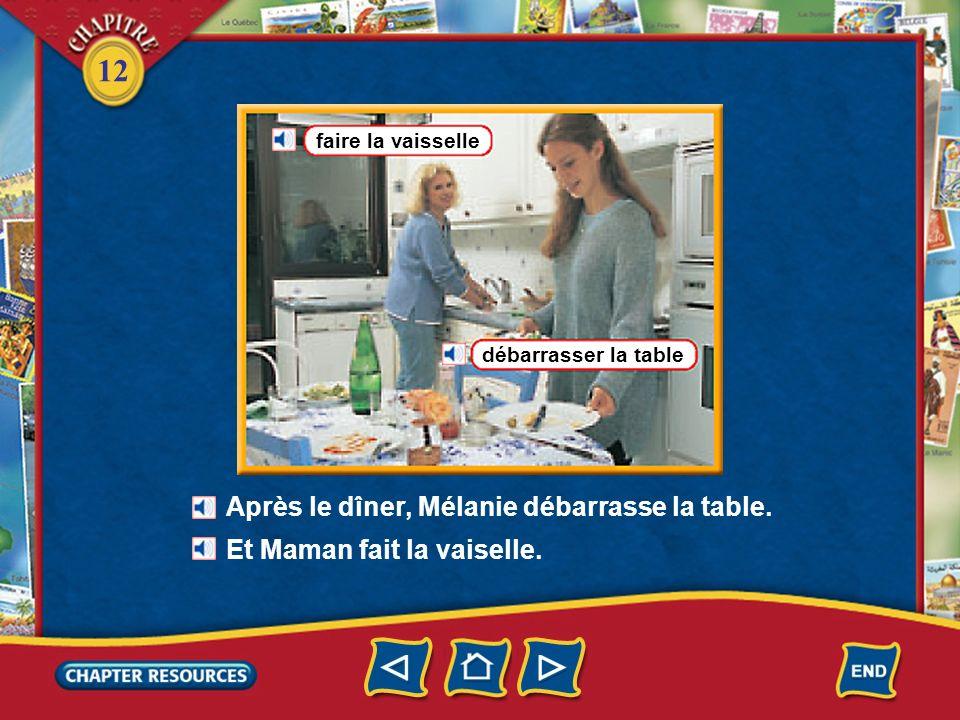 12 Chez les Moulin la cuisine un évier un lave- vaisselle un frigidaire, un réfrigérateur Avant le dîner, Christophe met la table.