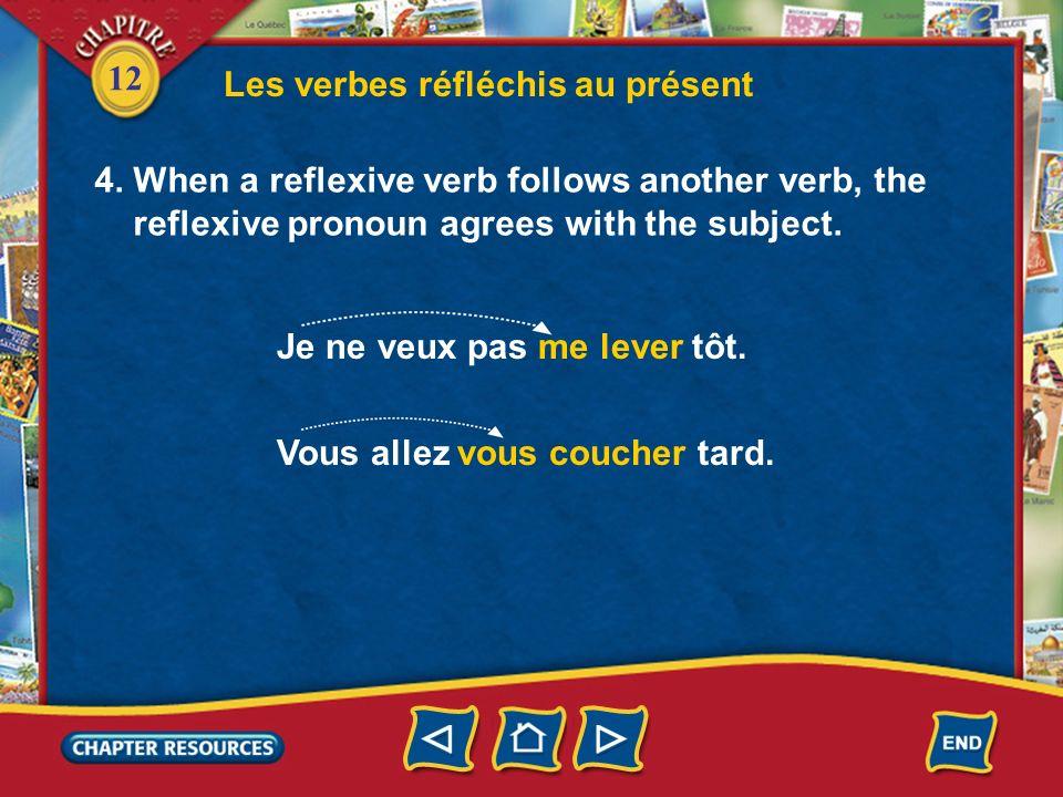 12 Les verbes réfléchis au présent 3. The reflexive pronoun cannot be separated from the verb. In the negative, ne comes before the reflexive pronoun
